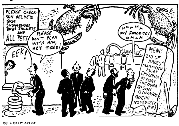 Cartoon accompanying a January 17, 1951 article in the  Christian Science Monitor  on the Explorers Club Annual Dinner.