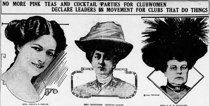 """An article from the January 9th, 1913 edition of  The Tacoma Times read: """"Plans for the 'Woman's Committee of Fifty' are going straight ahead in spite of the emphatic chorus of 'Isn't it a shame!' and 'How perfectly horrid!' that echoes through the lounging and tea rooms of several of the most swagger (sic) women's clubs in all Gotham today. The 'Committee of Fifty' is to make efforts to put the fashionable clubs for women  where there are tea parties with cocktails on the side , bridge whist for money stakes, and even more bizarre amusements out of business."""""""