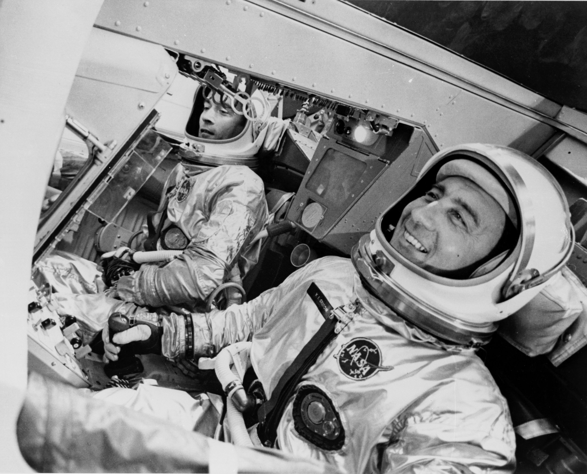 Gus Grissom & John Young, the crew of Gemini 3 in March, 1965. Contraband corned beef sandwich not pictured.