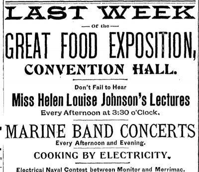 An ad for Helen Louise Johnson's cooking demonstrations in a January 22nd, 1894 edition of the  Washington Post .