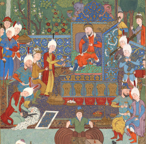 THE COURT OF JAMSHID, Iran, Tabriz, Safavid period, 1520s  Opaque watercolor, ink, and gold on paper  Lent by the Ebrahimi Family Collection