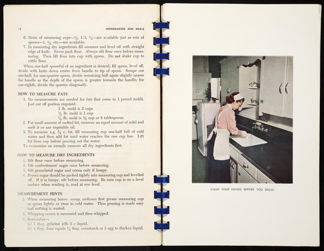 Homemaking and meals for instruction in Home Economic Education in Toronto Schools, 1957.