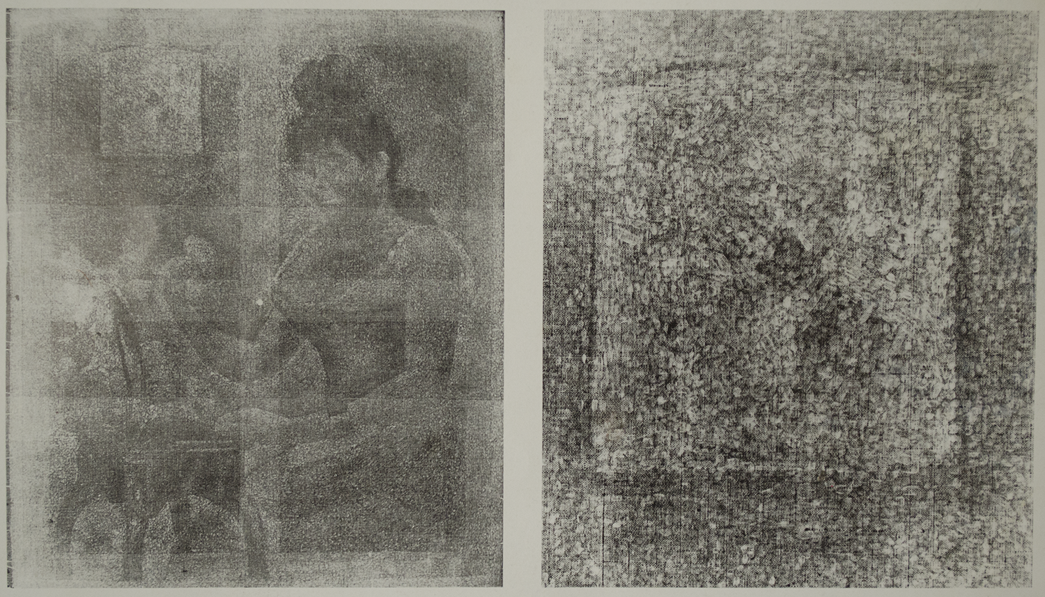 """xerographic image of """" the young woman powdering herself""""                                  xerographic image of the frame in the upper left of the painting display the artist ."""