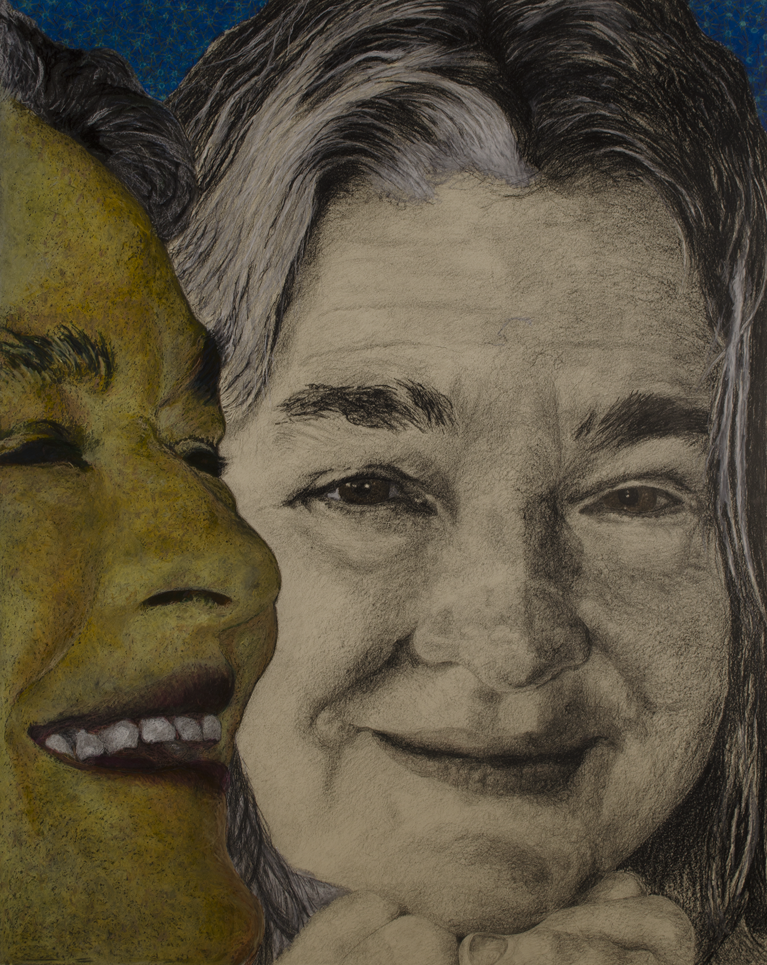 """KATHY MUEHLEMANN 2013  © PHOTOS: GARY GOLKIN 2013 ©  64.75""""X 52"""" [164.47 CM X 132.08 CM]CHINA MARKERS, OIL PASTELS ON PAPER"""