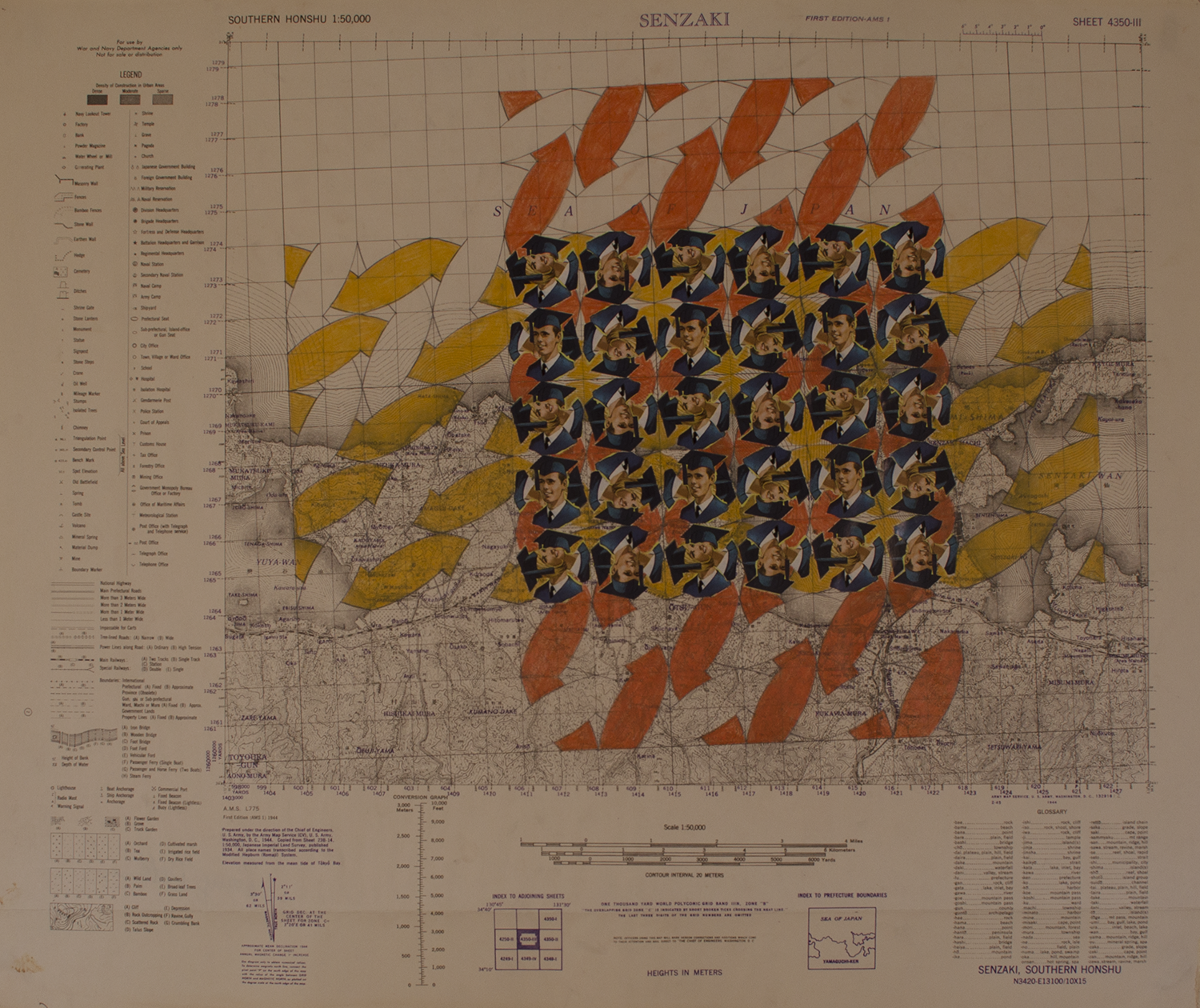 "GRADUATES orange yellow weave   1973-74 © rubber stamps on wwii map (PAPER) 24"" W X 20"" H [9.45 CM X 7.87 CM]"