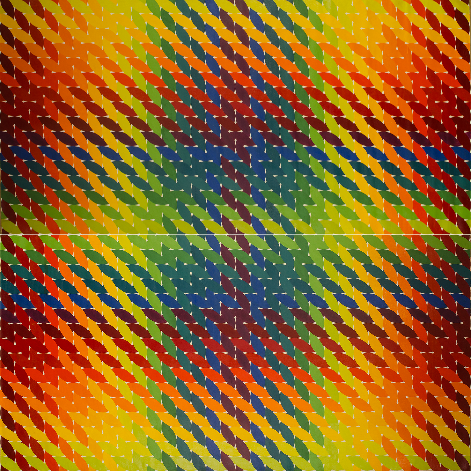 "WEAVE room 1972-1975©- left side panel 96"" x 96"" [243.84 cm x 243.84 cm]"