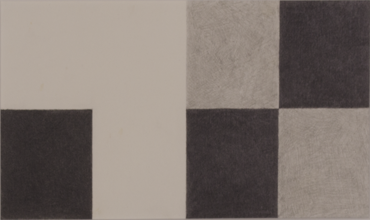 "ODD MAN OUT 1974 ©  GRAPHITE ON PAPER 6"" x 12"""