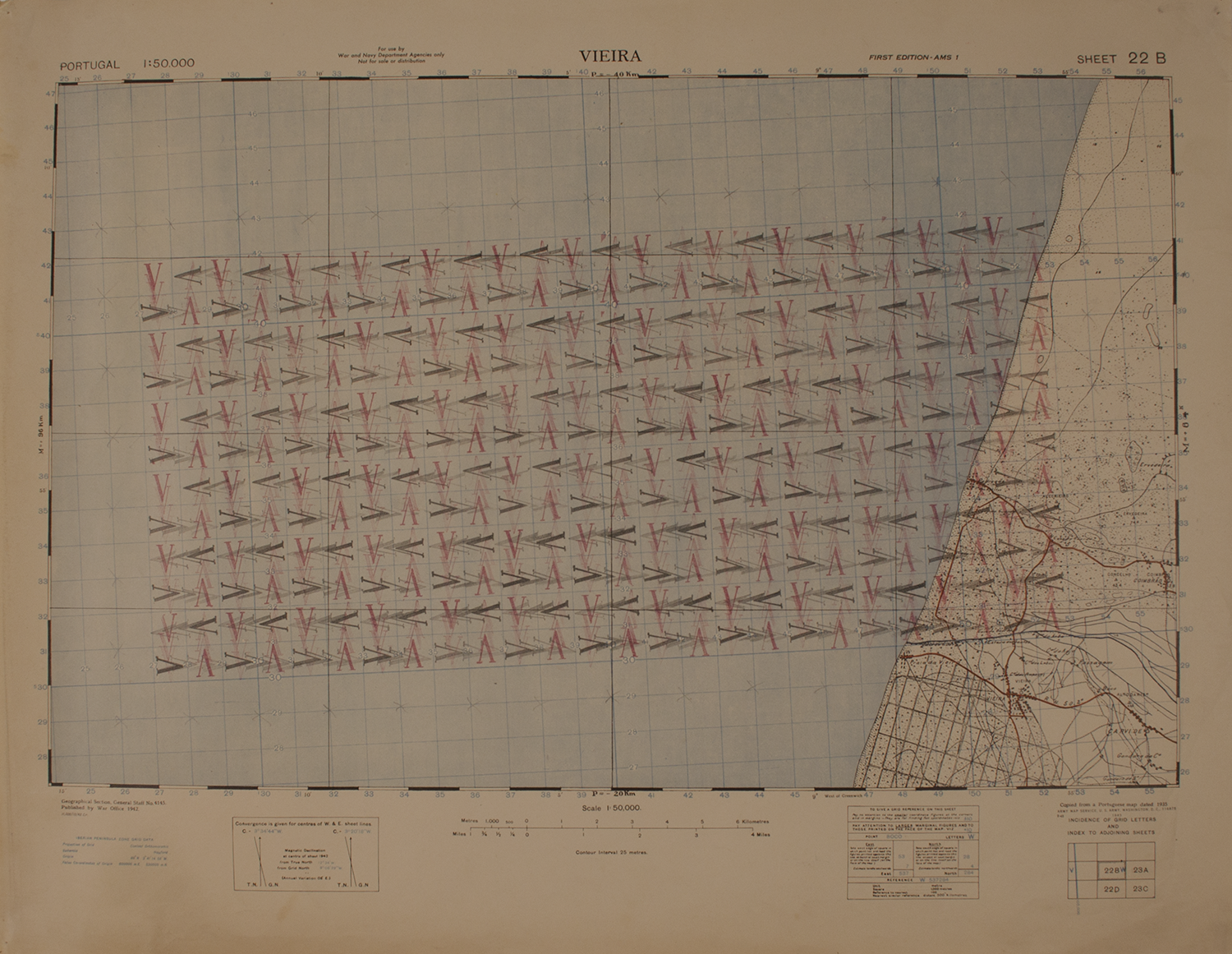 """V'S AT ANGLE  1973-74 © RUBBER STAMPS ON WWII MAP (PAPER) 28"""" W X 21.75"""" H [11.02 CM X 8.46 CM]"""