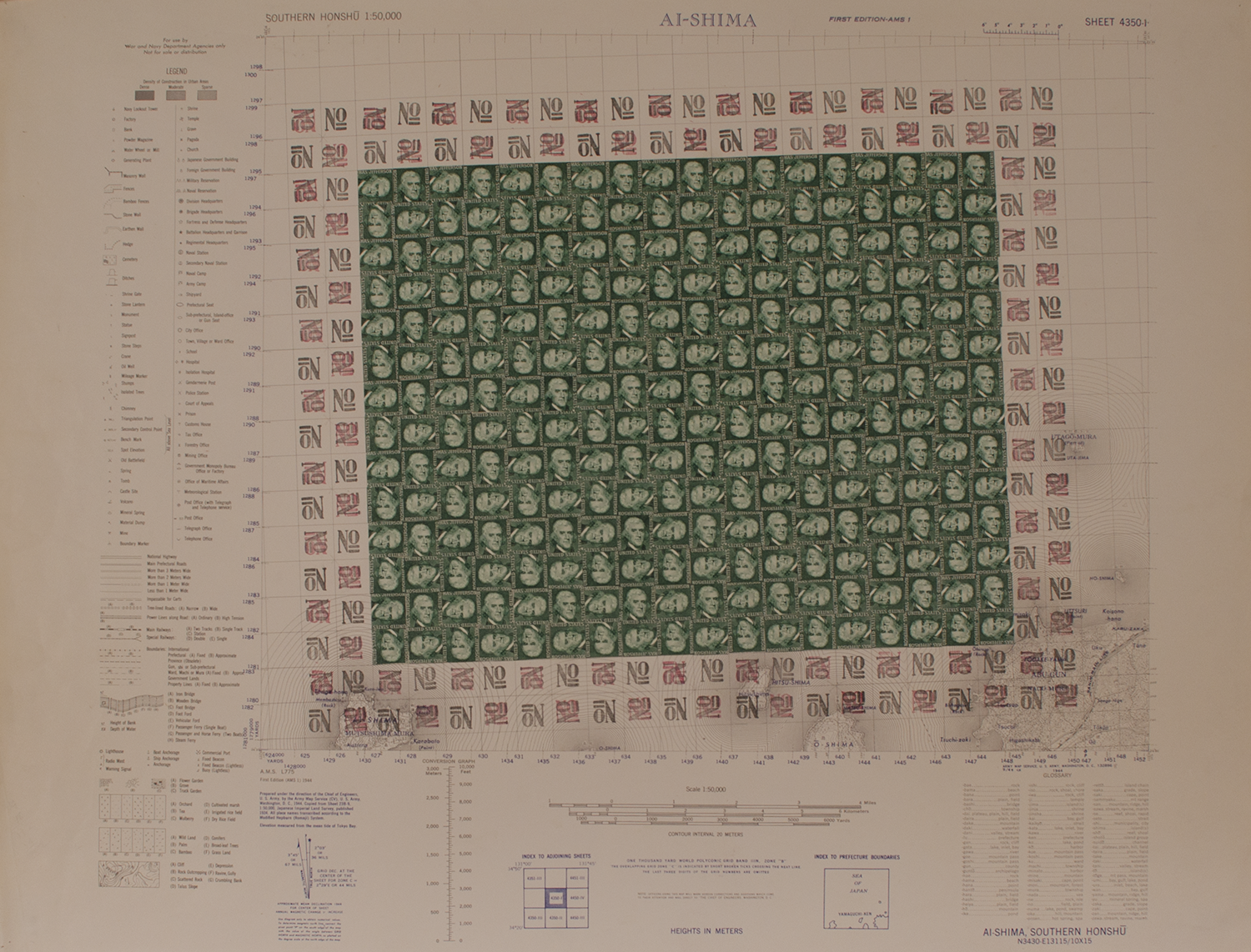 """THOMAS JEFFERSON 1973-74 © RUBBER STAMPS ON WWII MAP (PAPER 26"""" W X 20"""" H  10.24 CM X 7.87 CM]"""