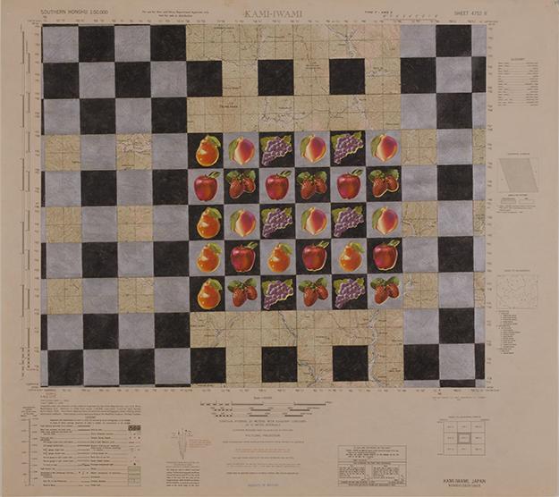 "KAMI-IWAMI   1973-74 ©COLO PENCILS DECALS ON WWII MAP 20"" X 22.5"" [7.87 CM X 8.86 CM]"
