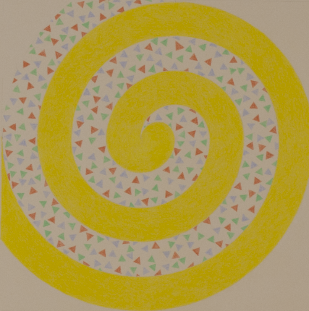 "SPIRAL-YELLOW WITH TRIANGLES   1983-844 ©                 COLOR PENCILS ON PAPER 9.125"" x 9.125"""