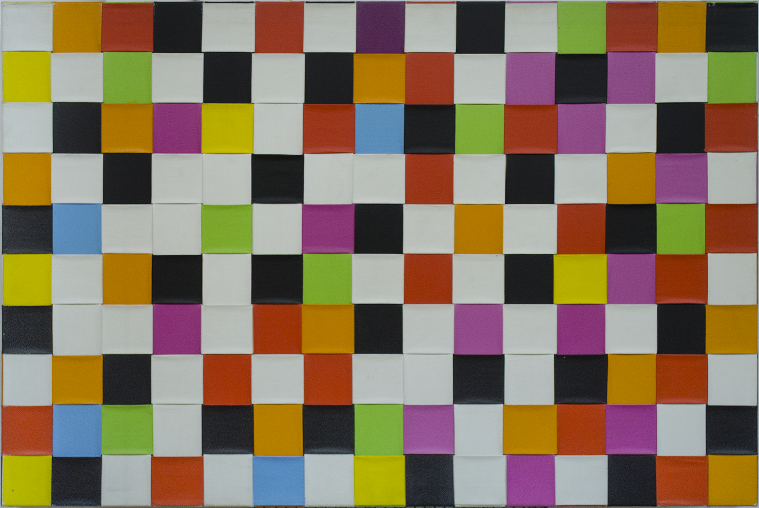 "THEM ALL 1975-77  © 40"" X 60"" WOVEN ACRYLIC PAINT ON CANVAS"
