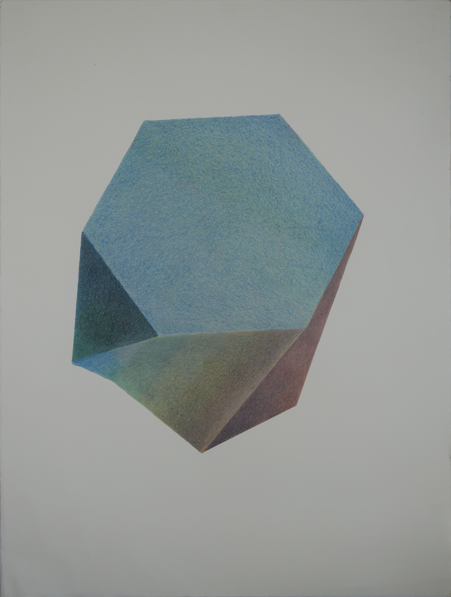 "INSPIRED BY THE SCUTOID © 2019 COLORED PENCIL ON COTTON PAPER 22.5"" (W) X 30"" (H)"