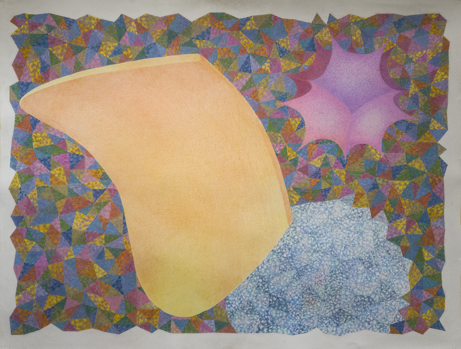 "COLOR, PLACE with 2 Hyperbolic forms© 2019 Colored Pencils on Cotton Paper 36"" (H) x 48"" (W)"