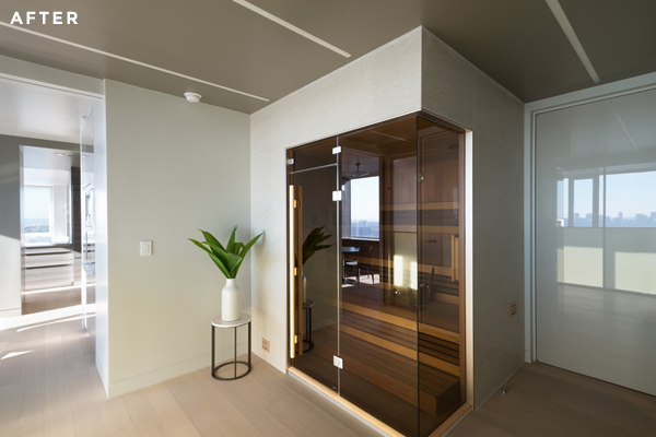 One of the perks of apartment combinations is turning extra kitchens into unusual spaces like this built in sauna.
