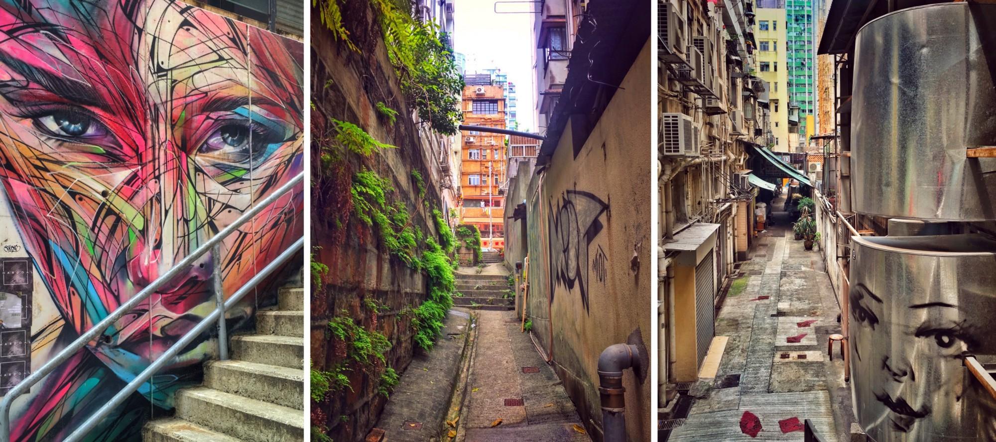 Alleys and graffiti in Soho, Hong Kong Island