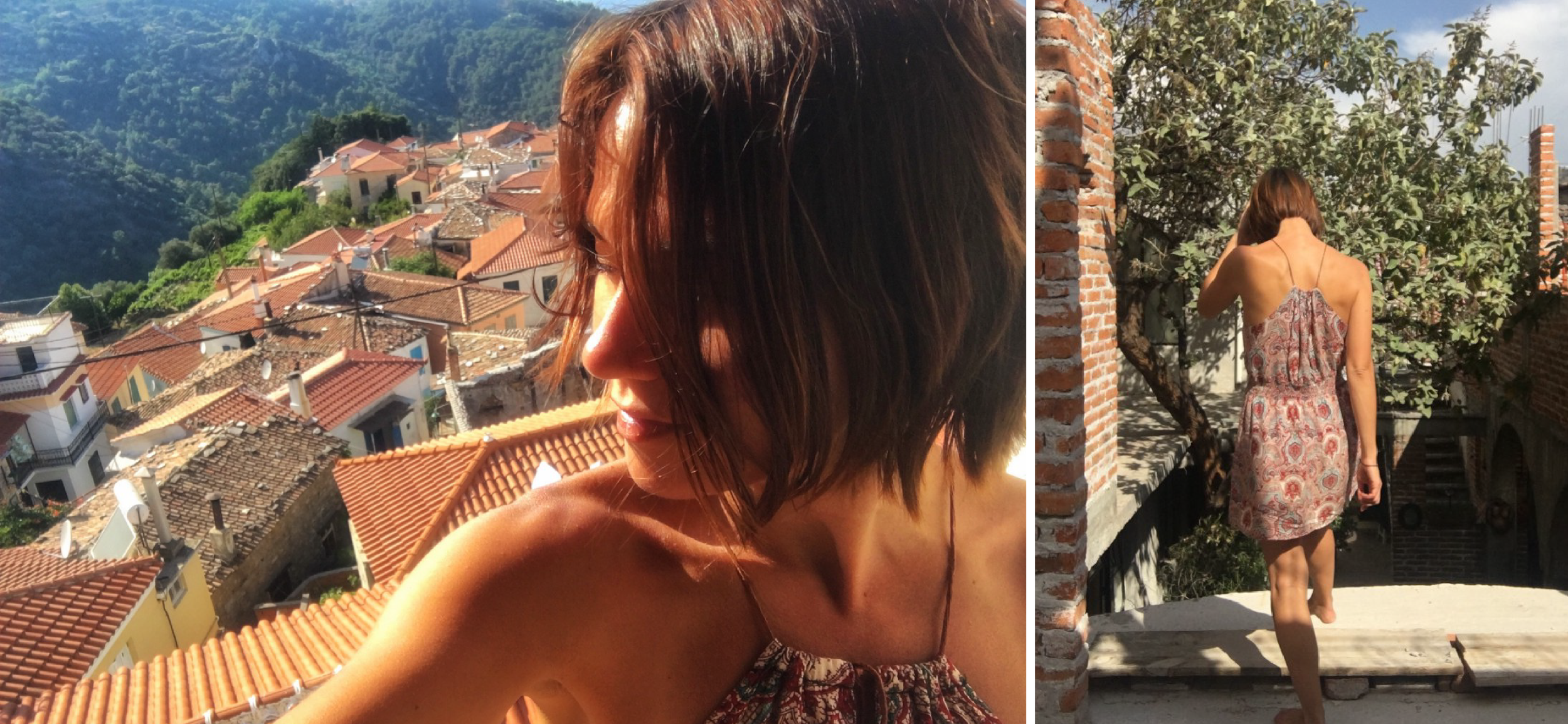 A patterned dress that I bought in Bangkok for $100 Baht ($3 USD), rocked in a village in Greece (left) and again in San Miguel de Allende, Mexico (right)