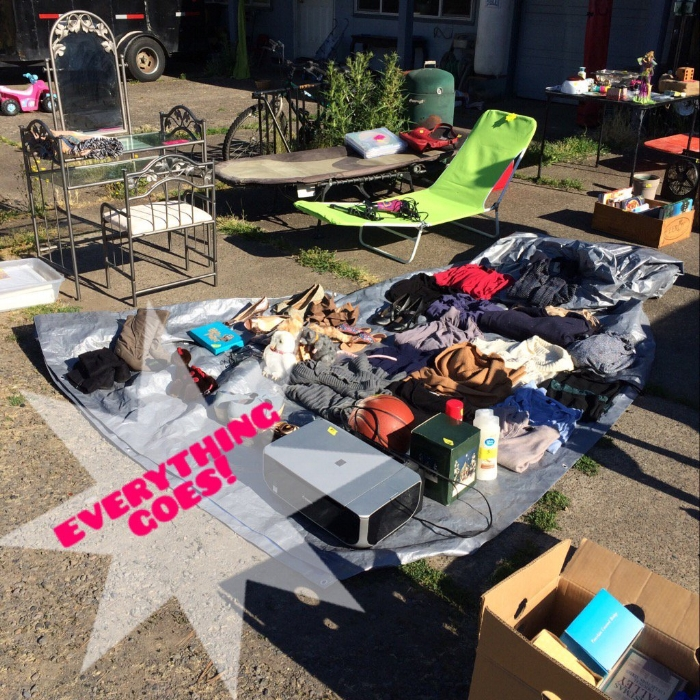 Garage sales are your friend when you need to unload a lot of stuff!