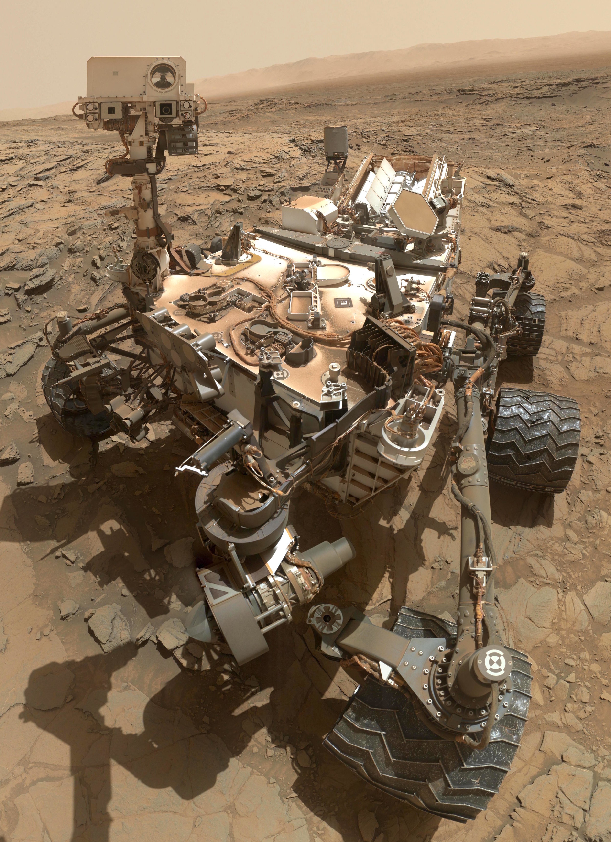 "This self-portrait of NASA's Curiosity Mars rover shows the vehicle at the ""Big Sky"" site, where its drill collected the mission's fifth taste of Mount Sharp. Photo credit: http://photojournal.jpl.nasa.gov/catalog/PIA19920"