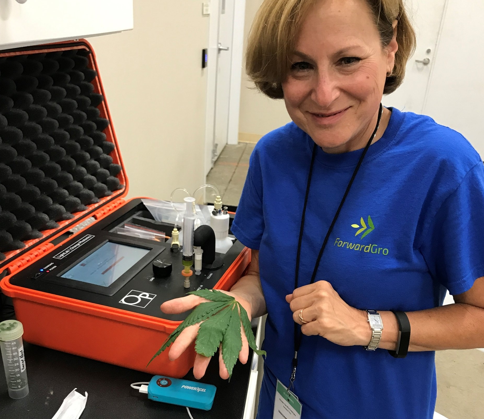 ForwardGro's Medical Director, Deb Kimless, MD, running a wet leaf sample on LightLab. Look for ForwardGro on social media to learn about their cutting-edge operation.