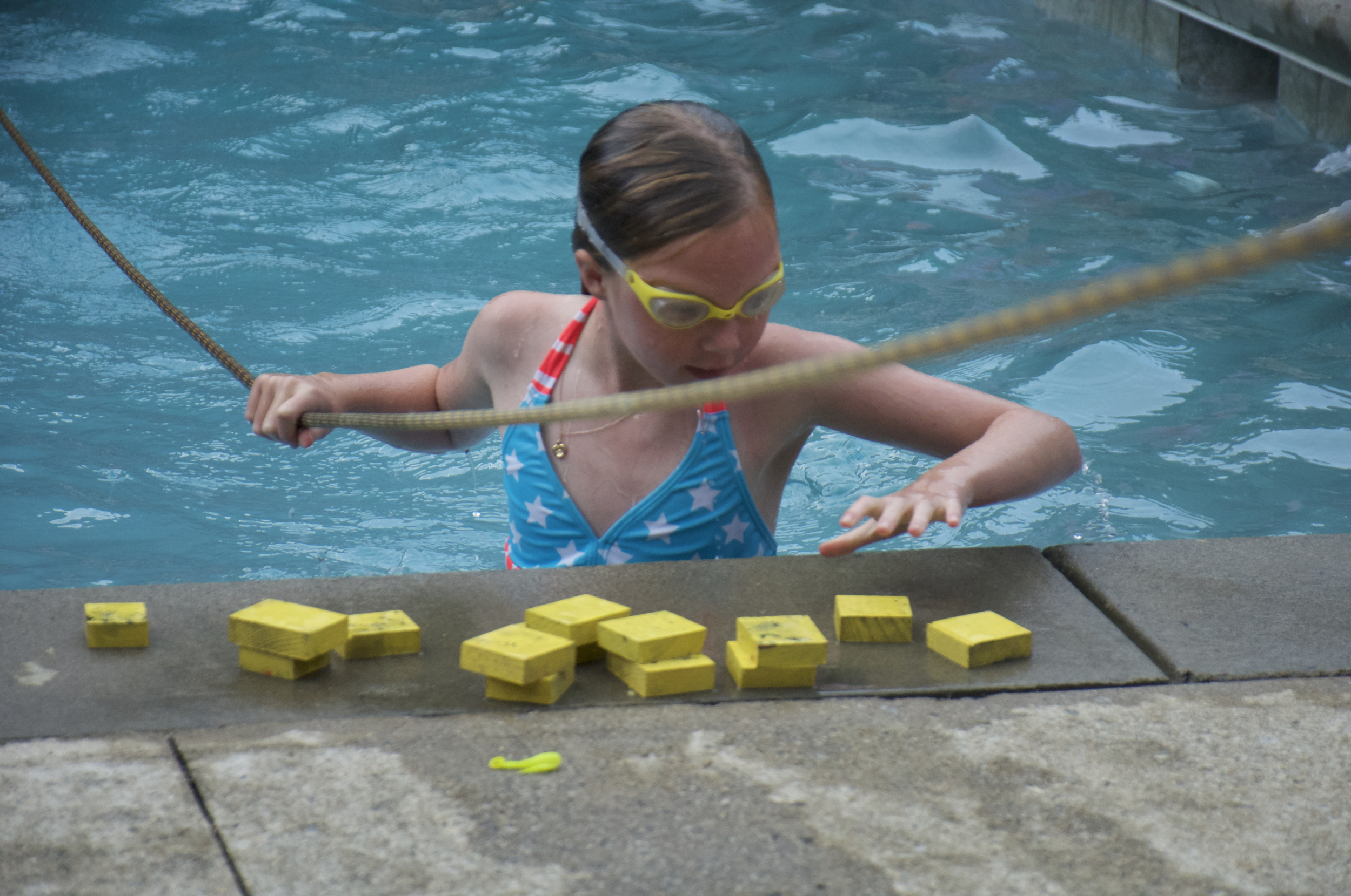 Survivor games at the pool.