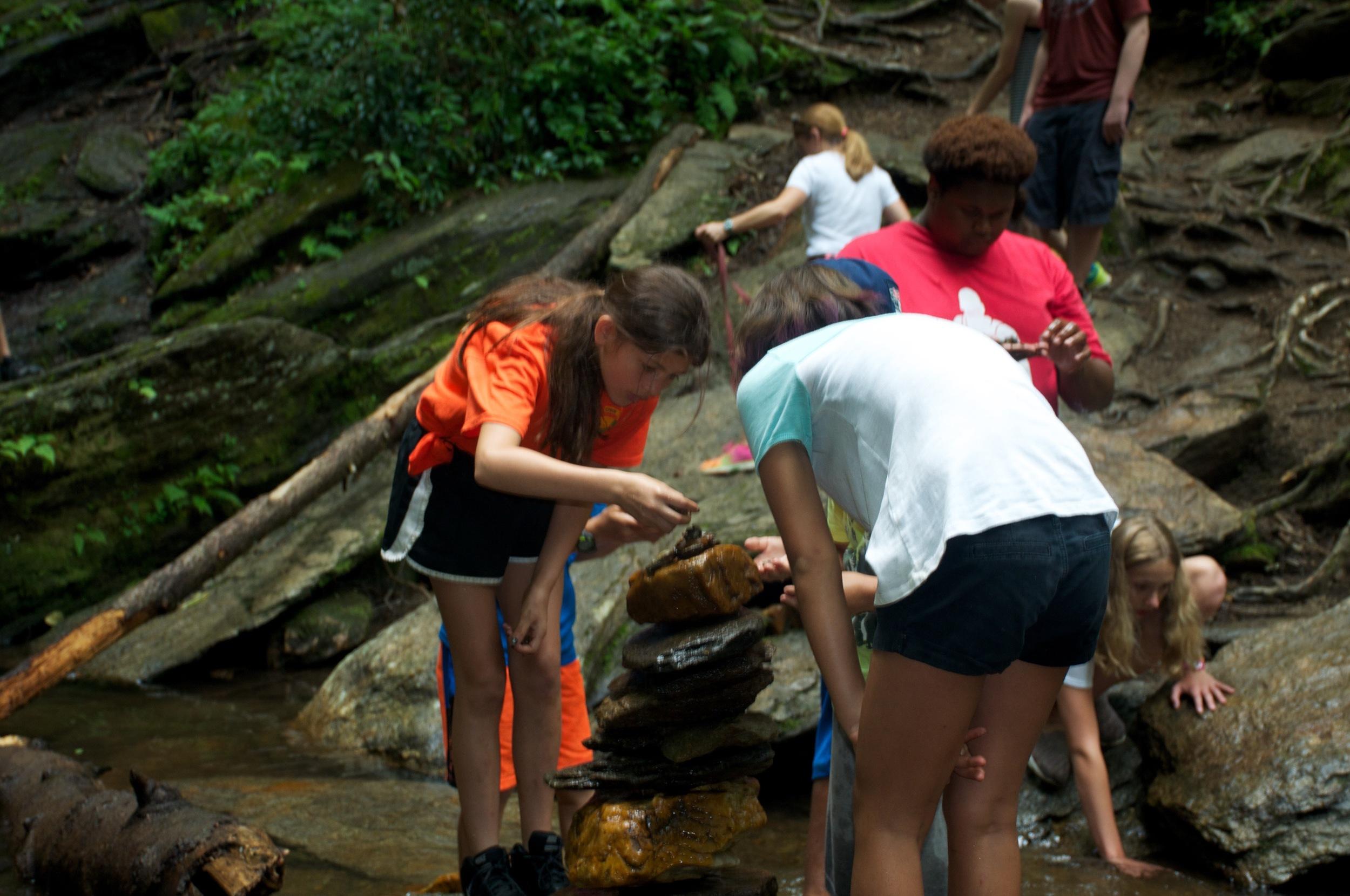 Exploring in the creek.