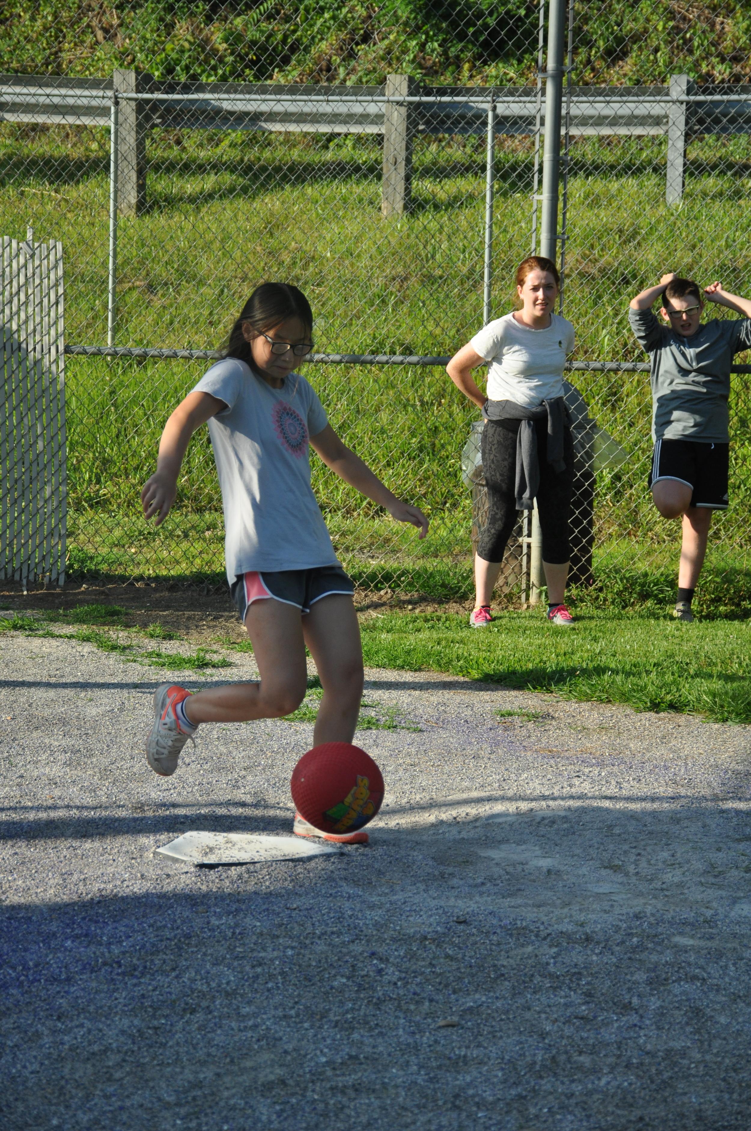 K. kicks it!