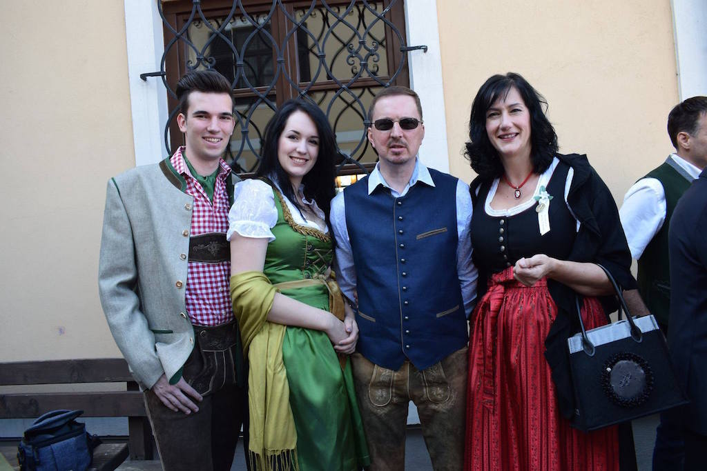 Future counselor Kathi (second from left)in a traditional dirndl from her native Austria!