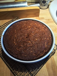 Finished baking - note how it should pull away slightly from the edge of the cake pan.