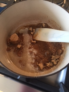 Butter and brown sugar - cook two minutes on medium/low heat