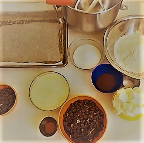 Nutty Chocolate Streusel Bars Mise en place