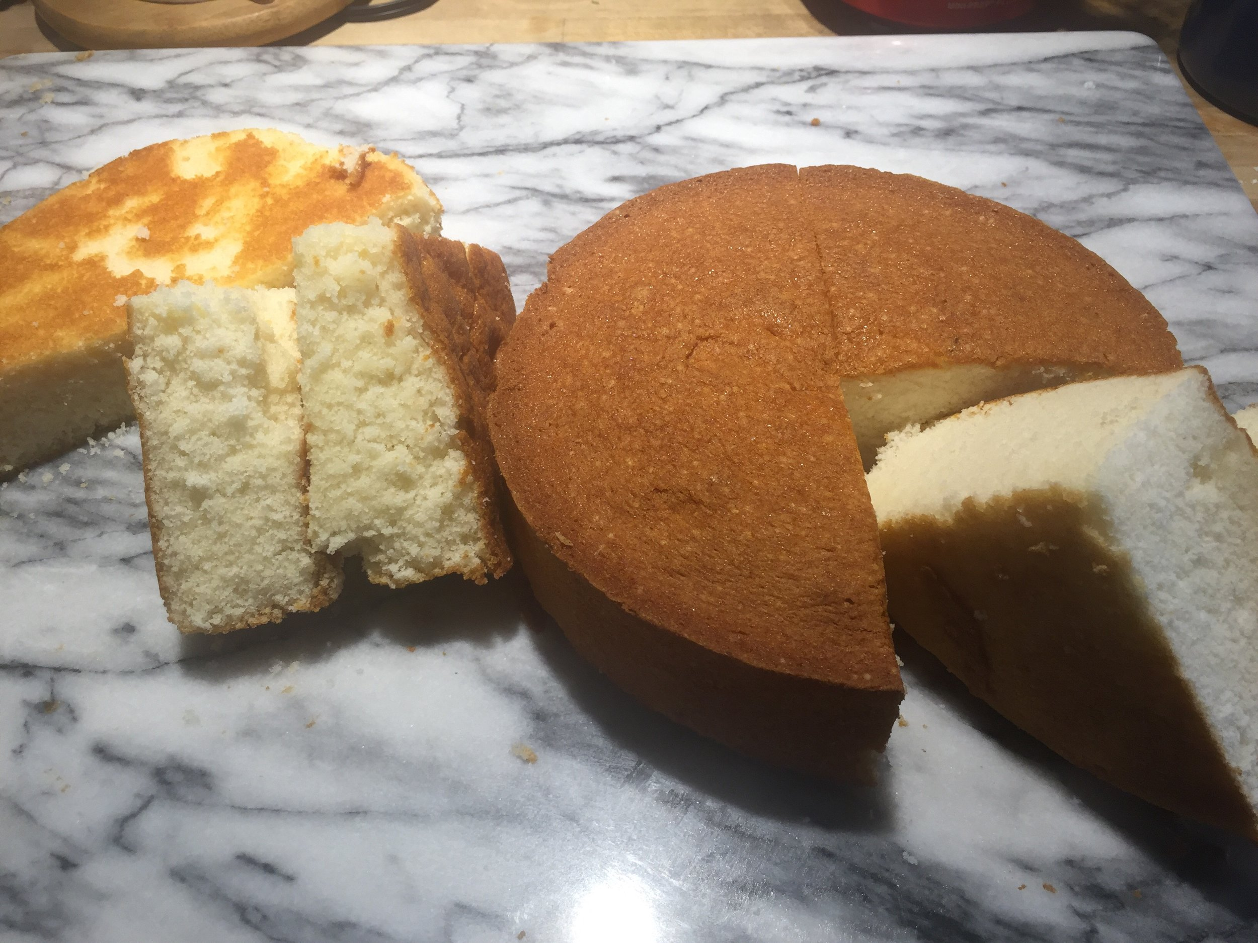 The real cake flour cake is on the right and the all purpose/cornstarch blend is on the left.