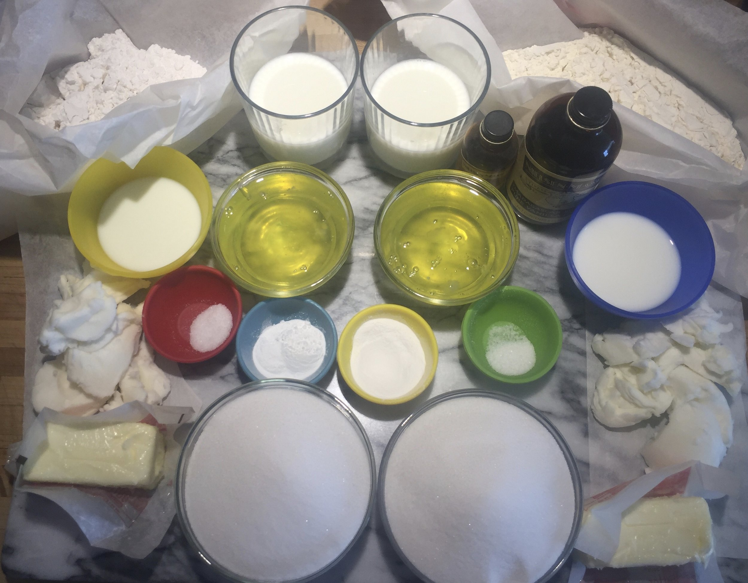 Mise en Place for both cakes