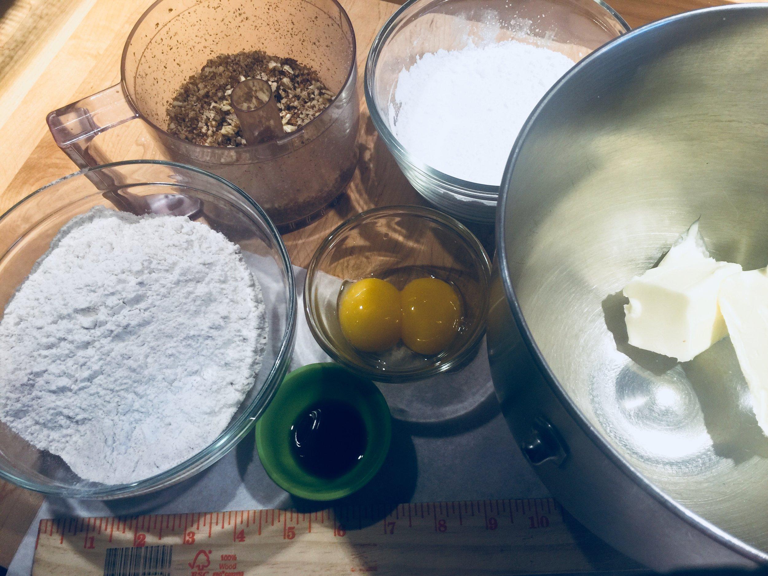 Cinnamon Pecan Cookie Mise en Place