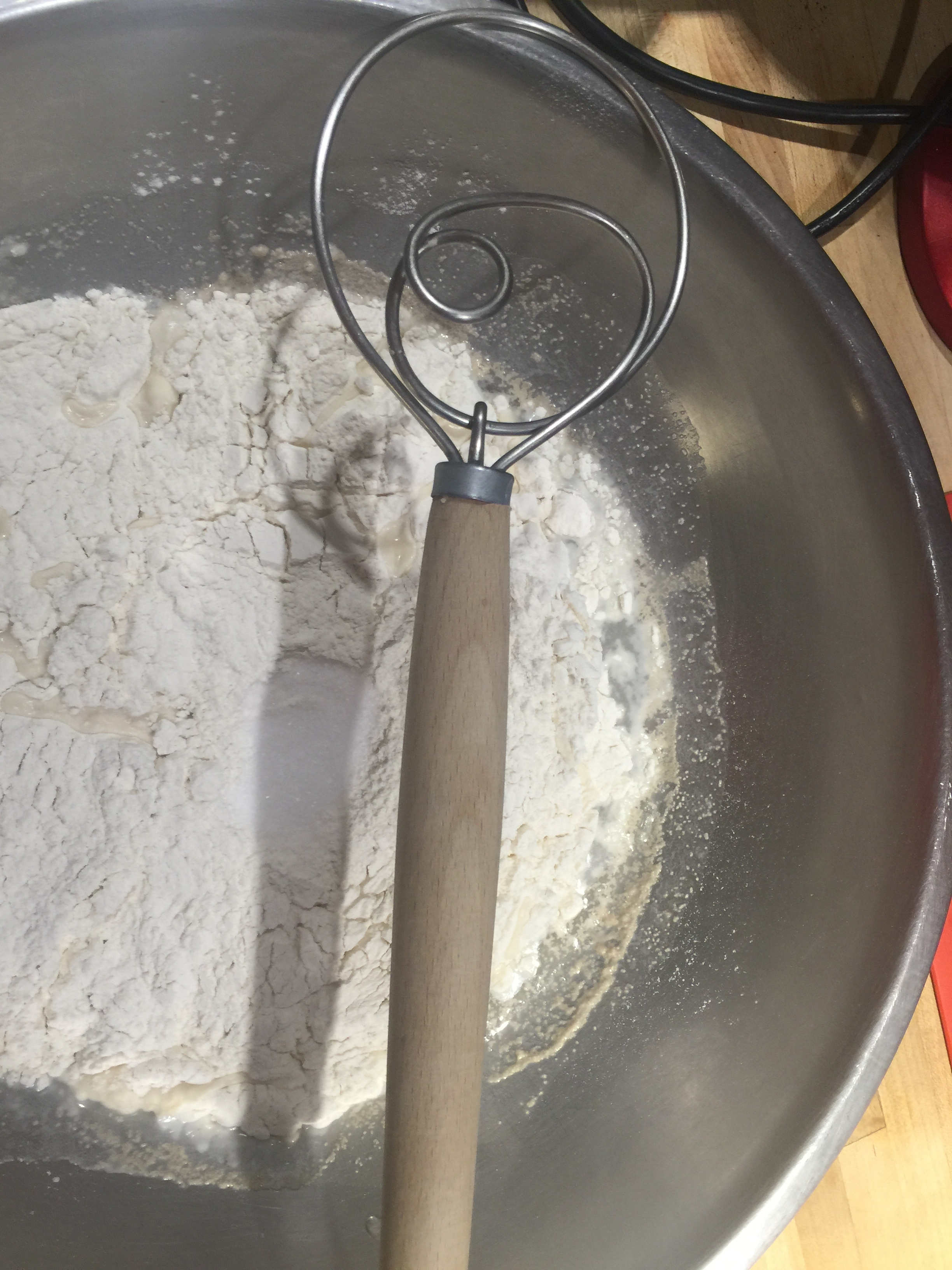 Right before mixing - salt is on top of the flour.