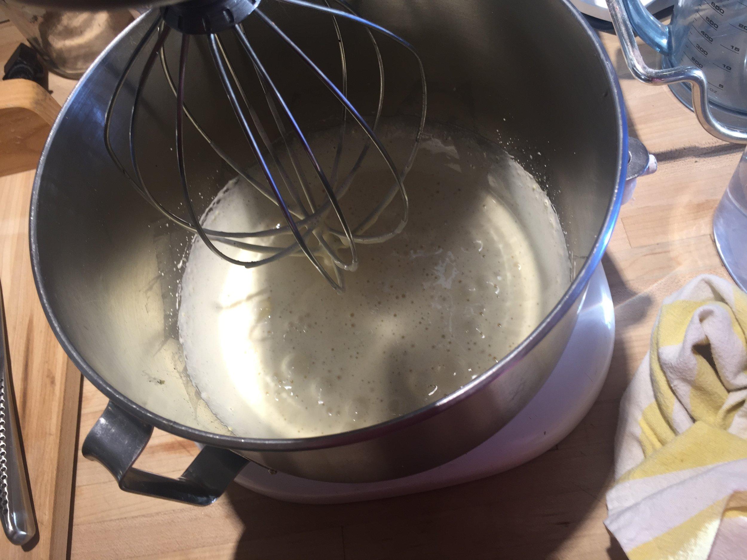 Ribboned eggs, sugar, vanilla bean paste (or extract) and honey