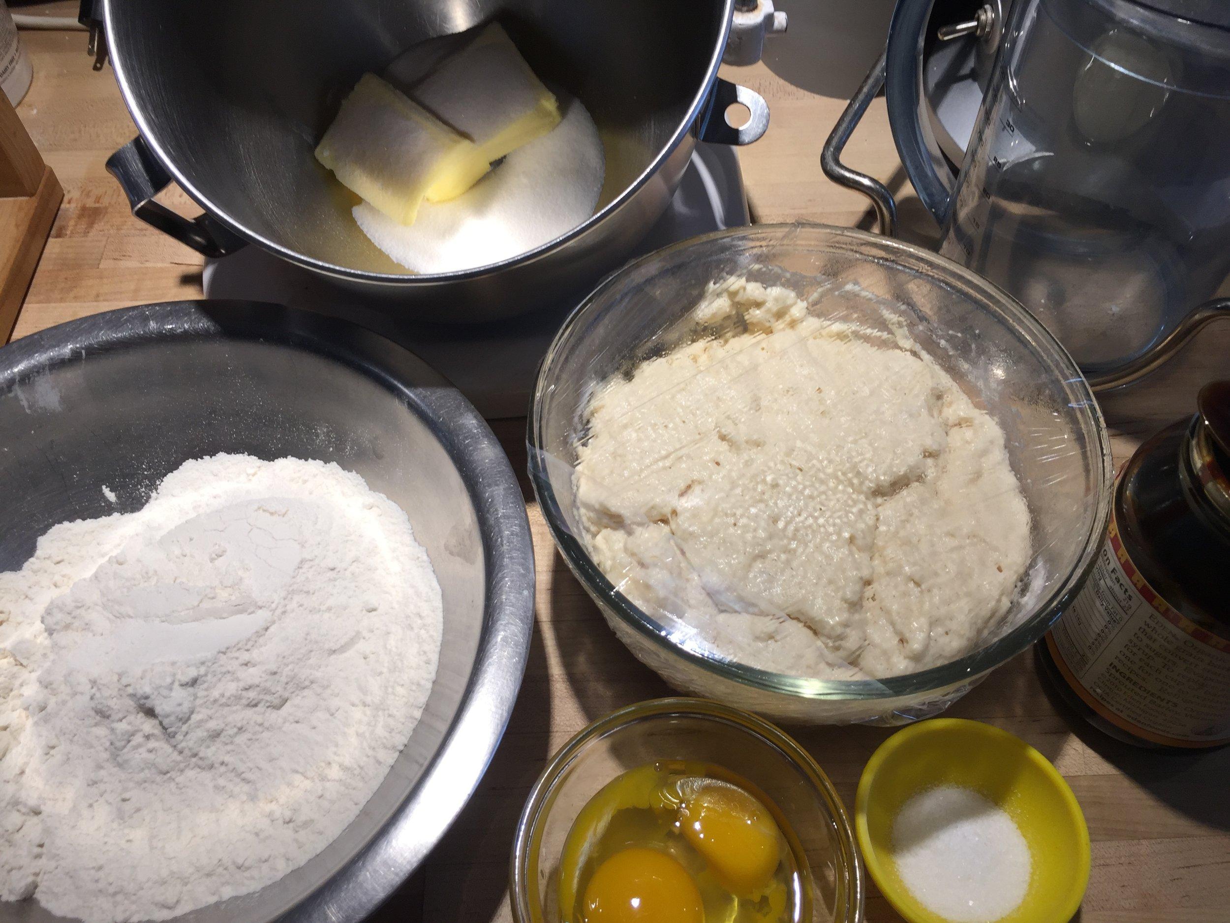 Brioche mise en place - note how high the sponge has risen