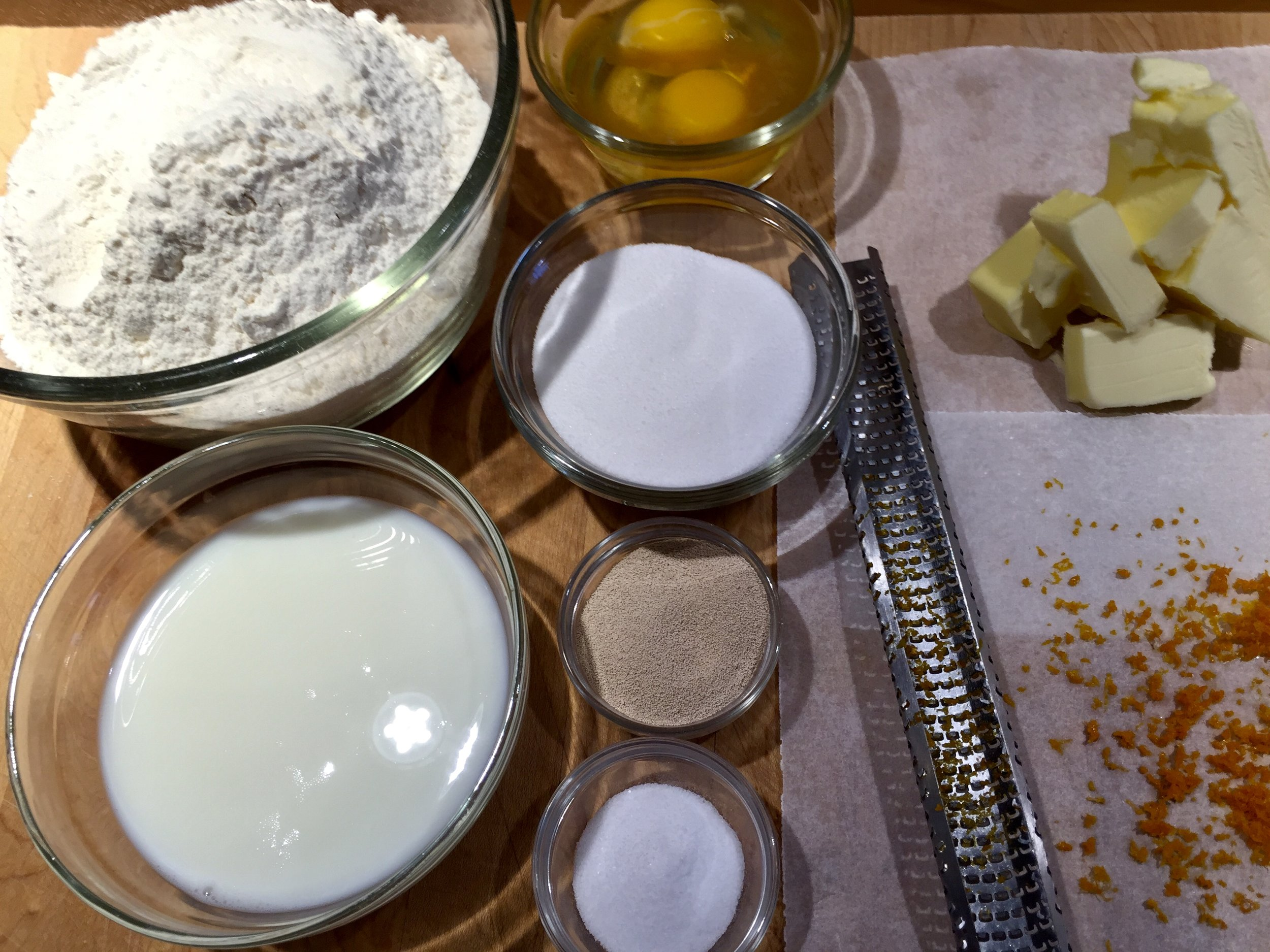 Sweet Dough Mise en Place - the vanilla is in with the egg…