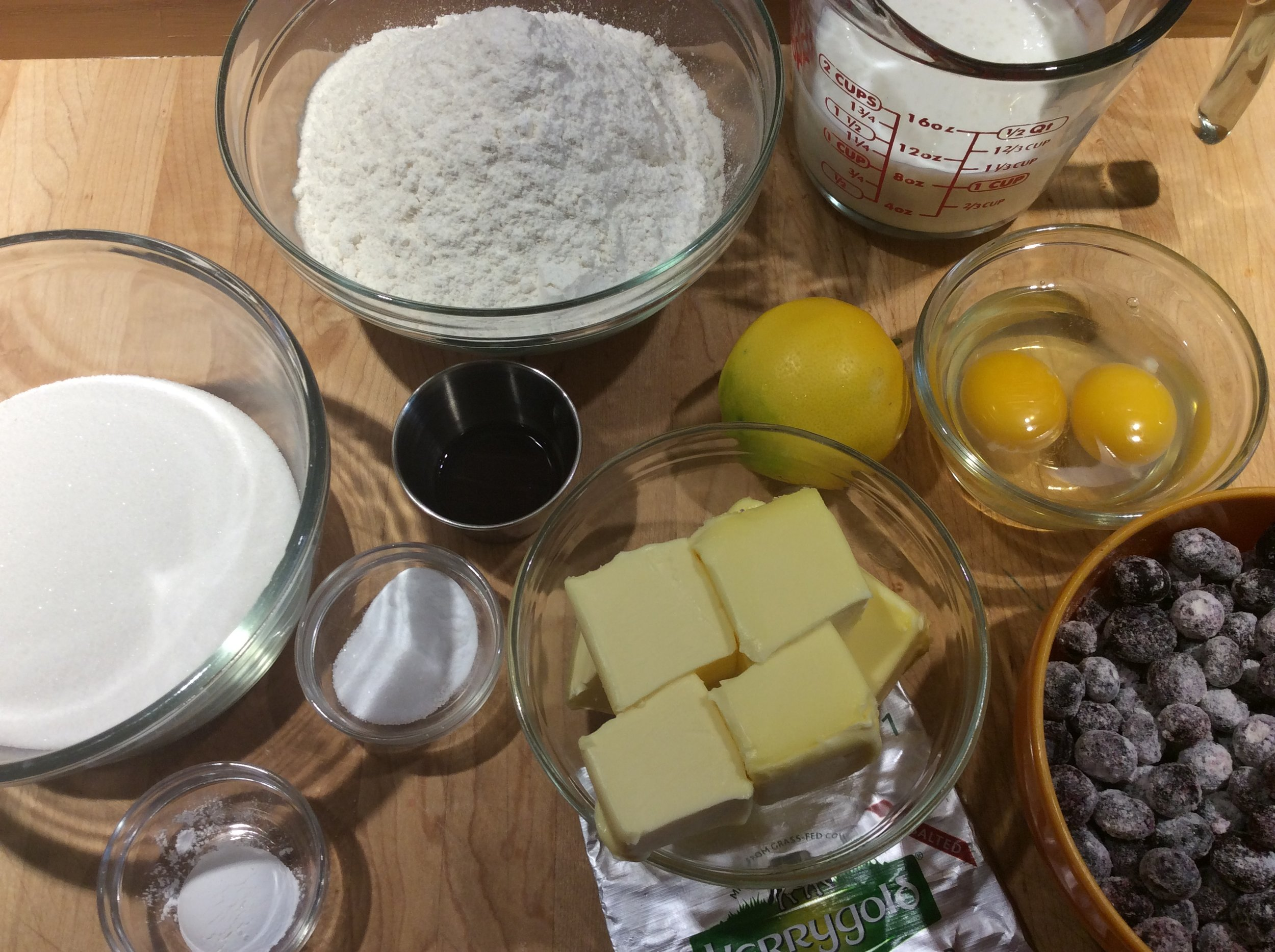 Blueberry Muffin Mise en Place - The blueberries are tossed in 2 Tablespoons of flour (extra flour) and then placed in the freezer until needed. They need to stay frozen until needed.