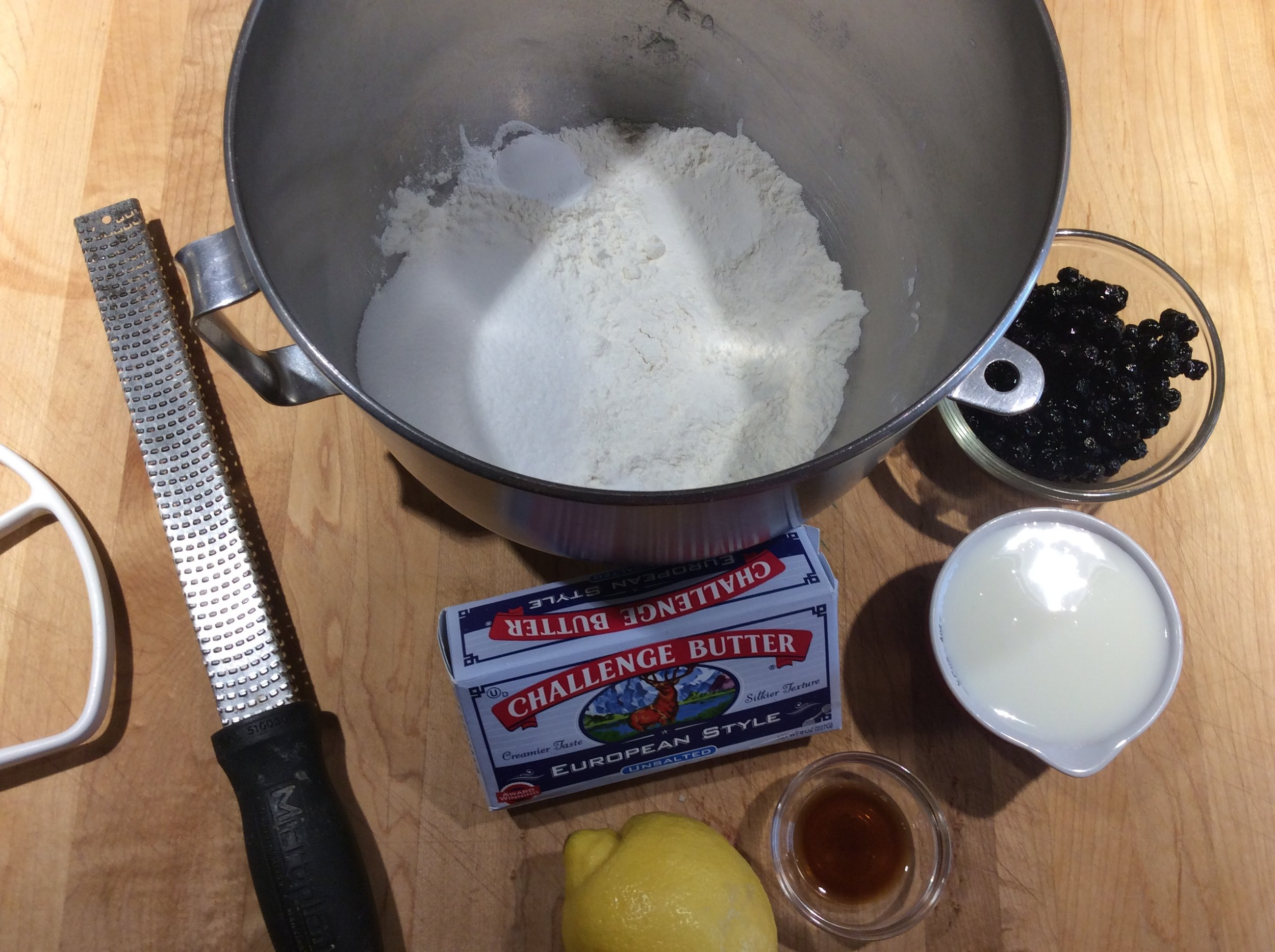 Scone mise en place - if you have any European type butter around use it in your scones