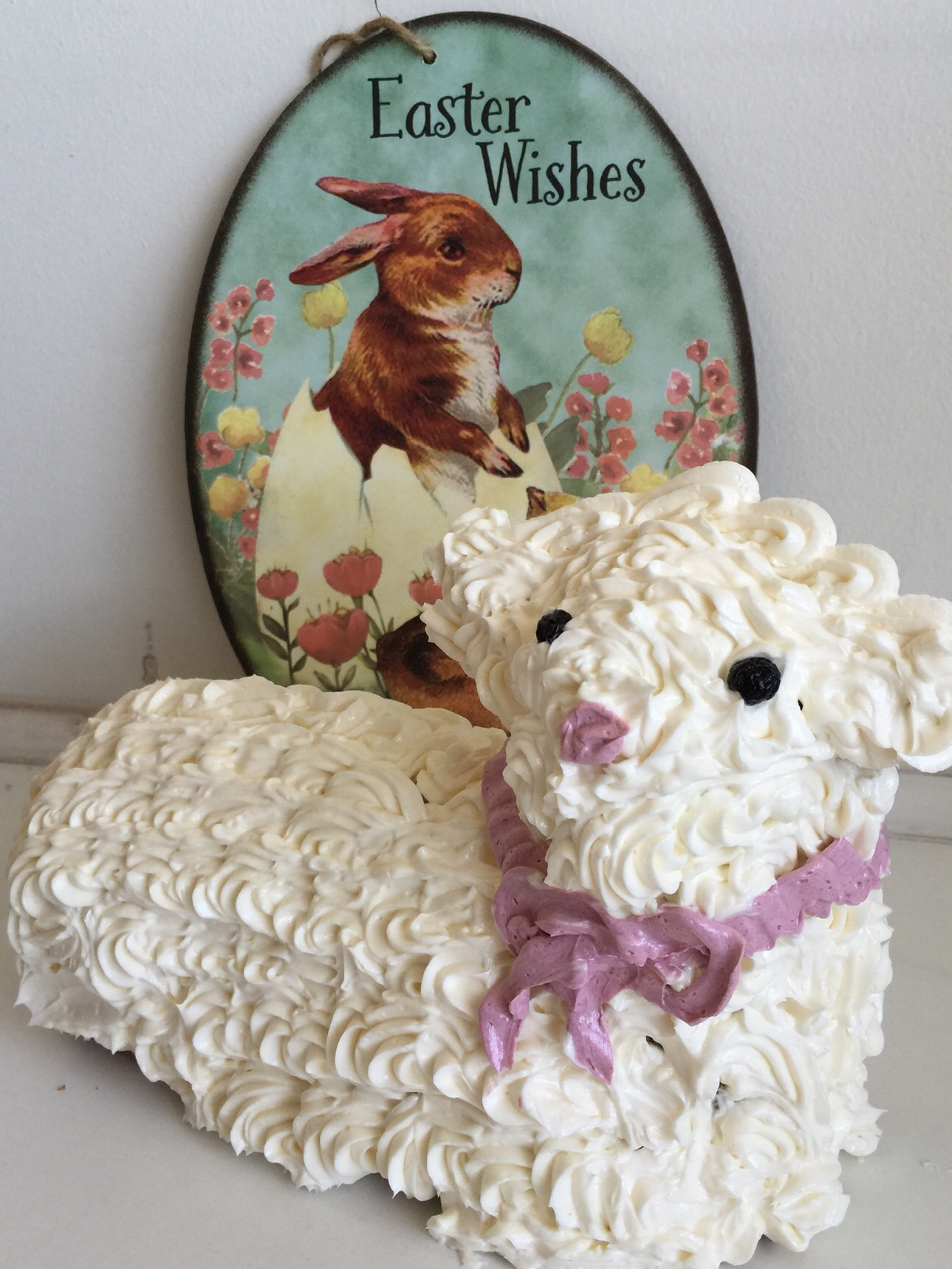 "Easter Lamb Cake  - ""Lambie"" was created during a live baking tutorial on FB. The videos are below."