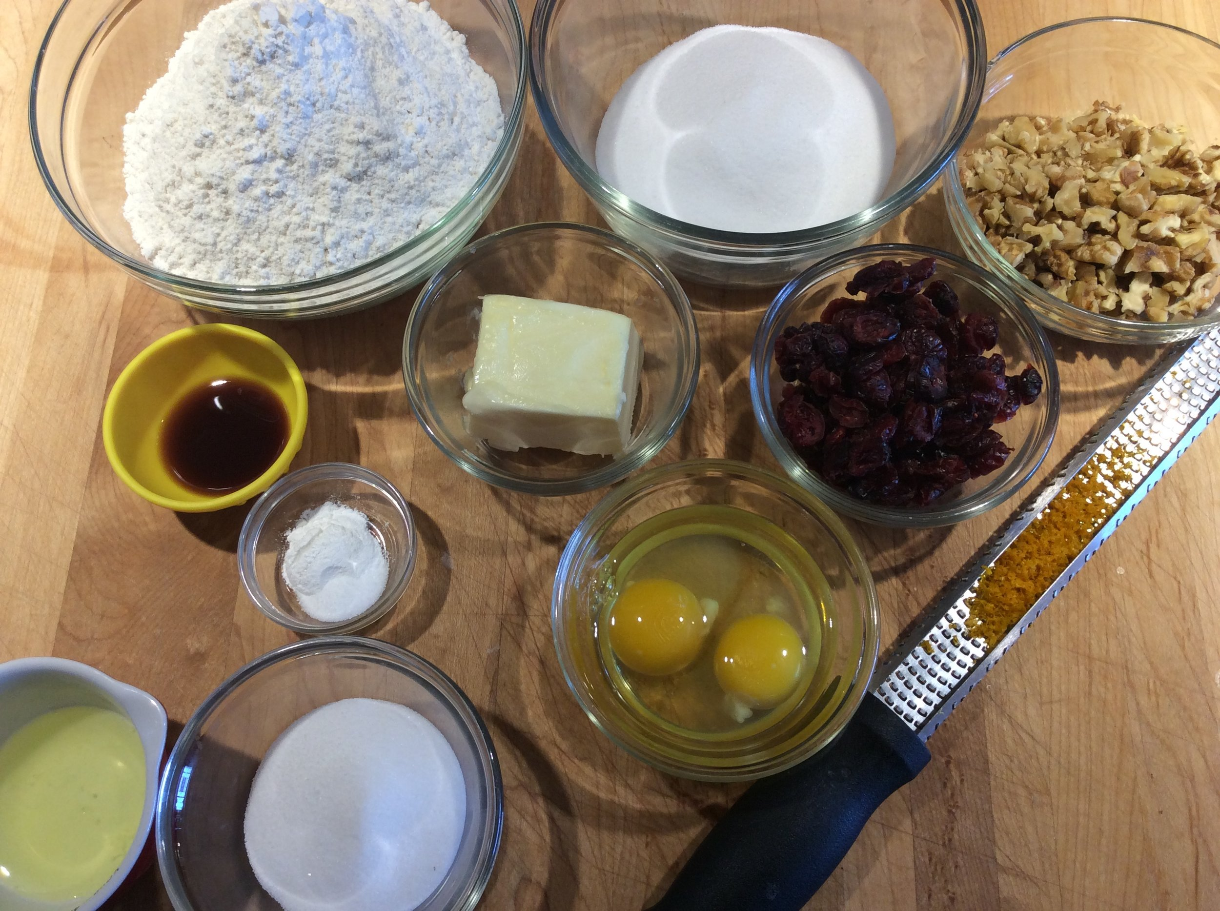 Biscotti Mise en place - this variation is cranberry, walnut and orange zest