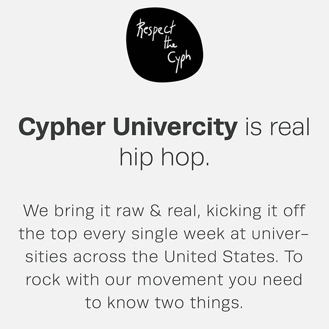 1. The Code RESPECT  PROJECT  BE ORIGINAL  FUCK THE CAMERA  KEEP THE PEACE  2. The Process FOLLOW THE CODE  IMPROVE OVER TIME  GET YOUR MEDALLION  JOIN OUR TOUR  GO WORLDWIDE  #cyphacypha