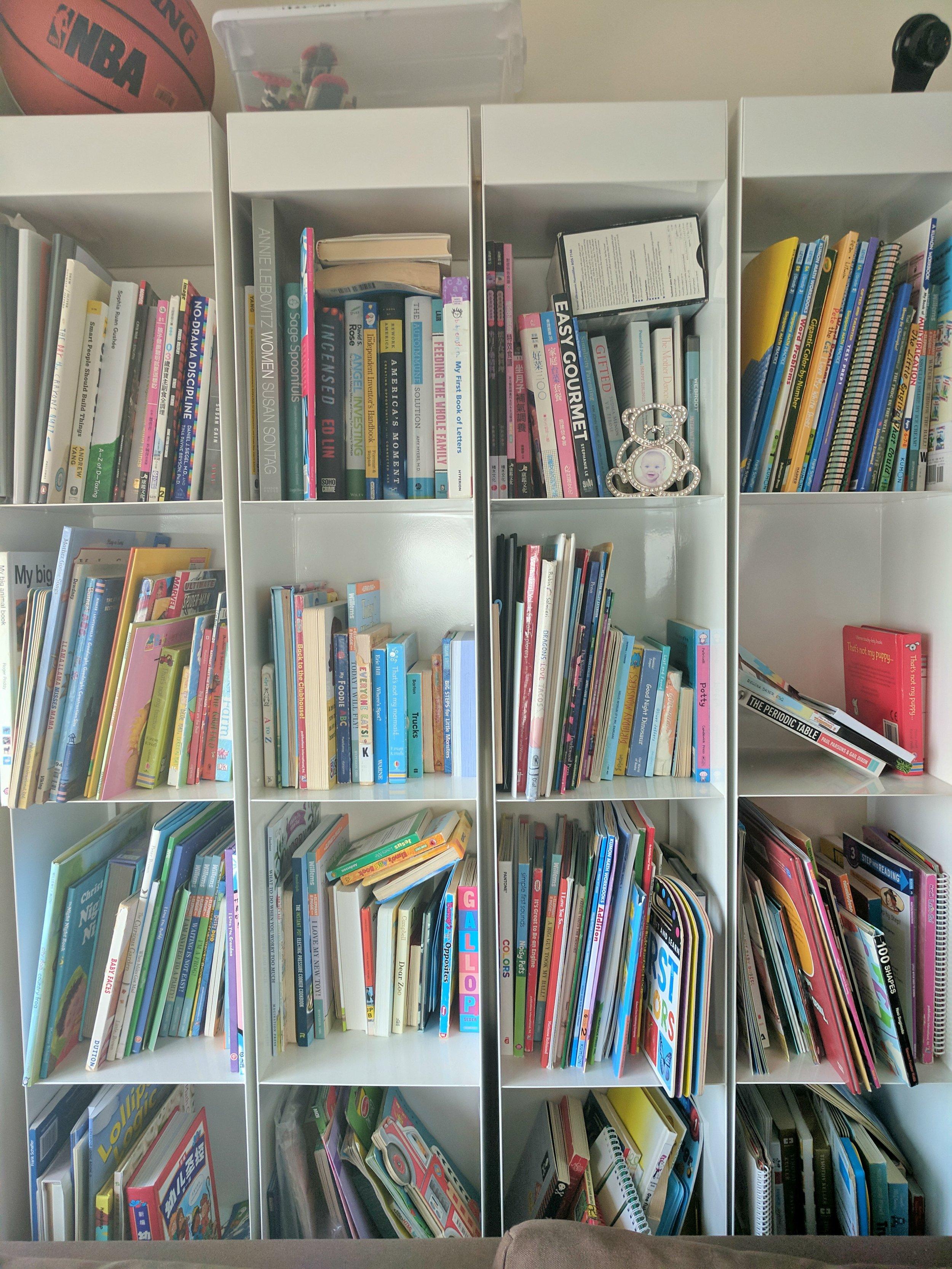 Disorganized jumble of books