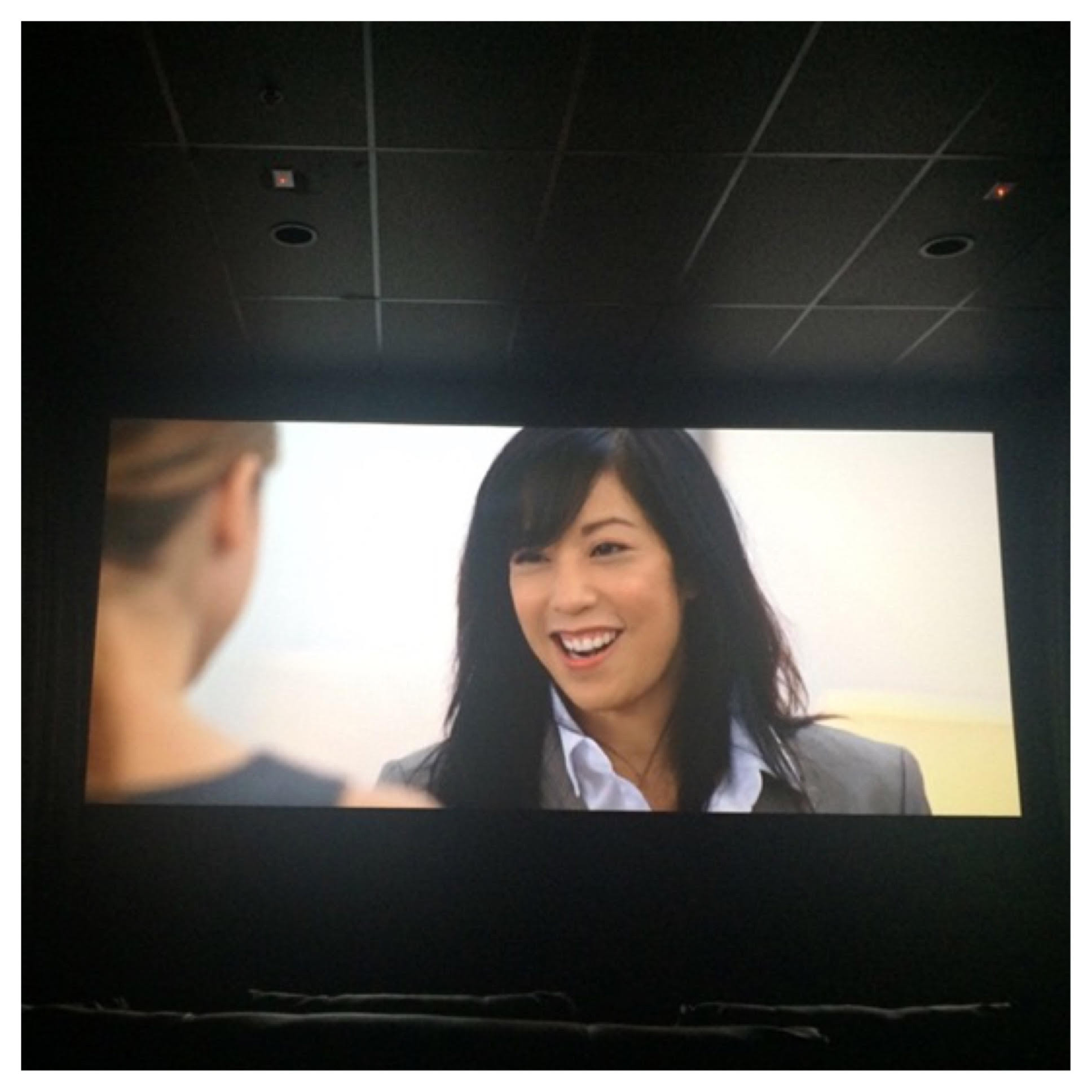 "Corinne Chooey on-screen in ""Temps"" at the Laemmle Theater (I couldn't resist!)"