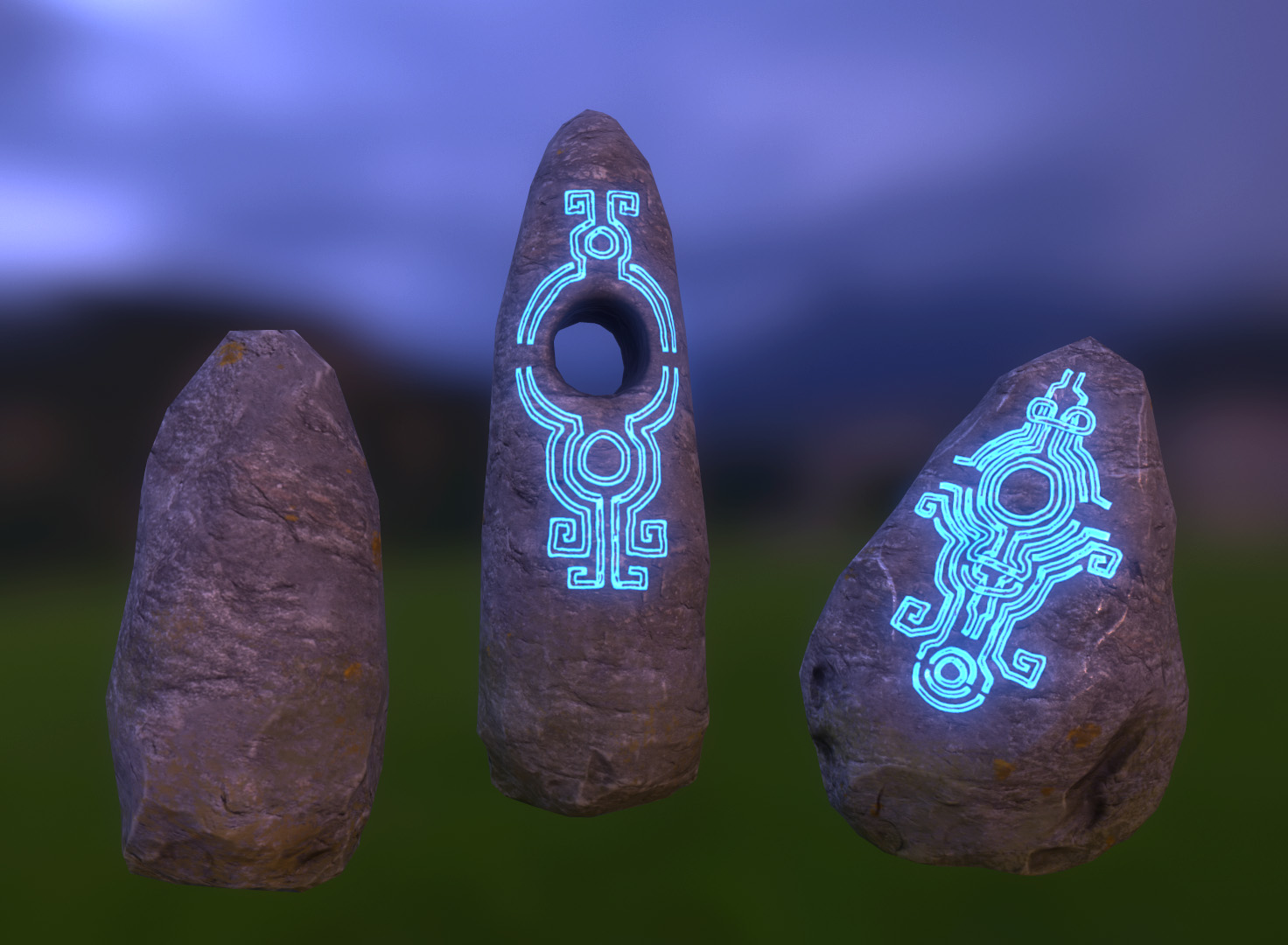 Rune stone environment props. Models created in Maya and Zbrush. Texturing with Xnormal and Photoshop.