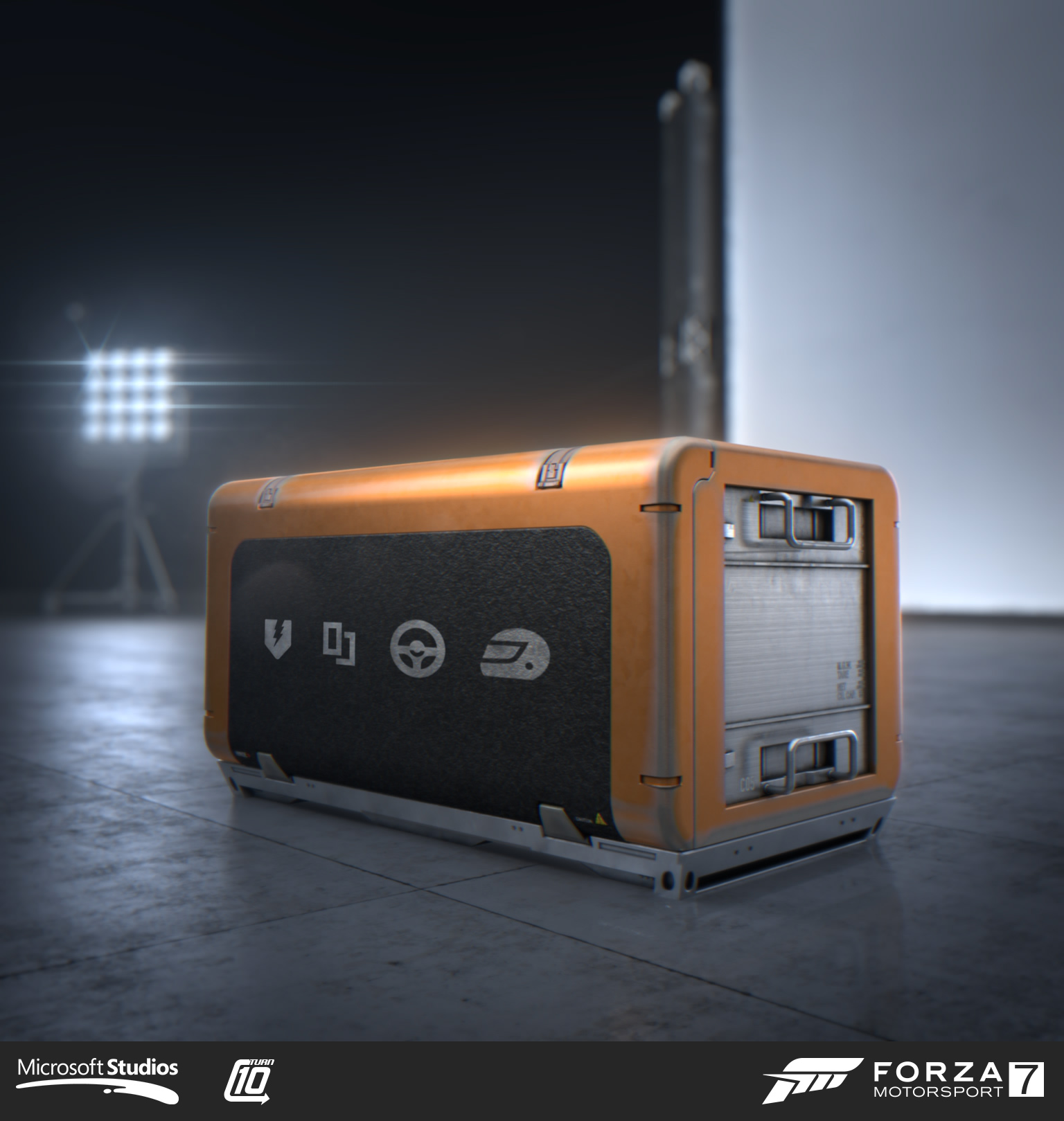 Prize crate created for Forza Motorsport 7. I concepted, modeled, textured and animated the crate. Art direction from David Heutmaker, Nic Johnson and Scott Lee. Rendering and additional materials & animation from Goldtooth Creative.