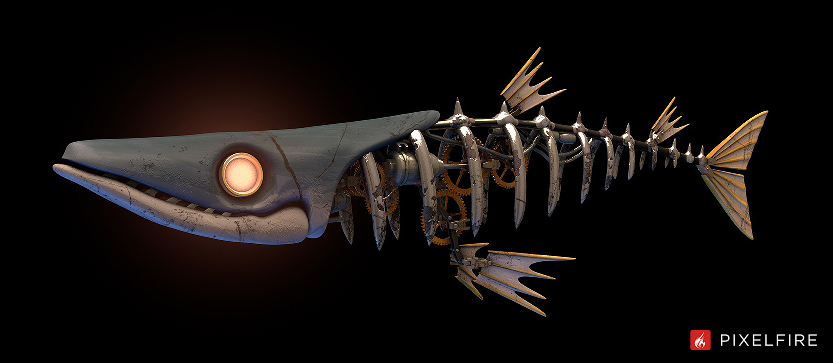 Steampunk barracuda created for an animation used by Bluewater Technologies in a projection mapping event at the Fillmore Theater in Detroit.
