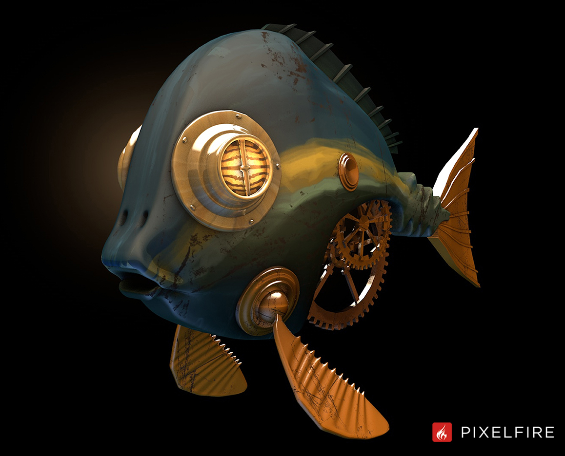 Designed, modeled and textured steampunk fish for   Pixelfire. Shaders and lighting by Pixeflire Productions.
