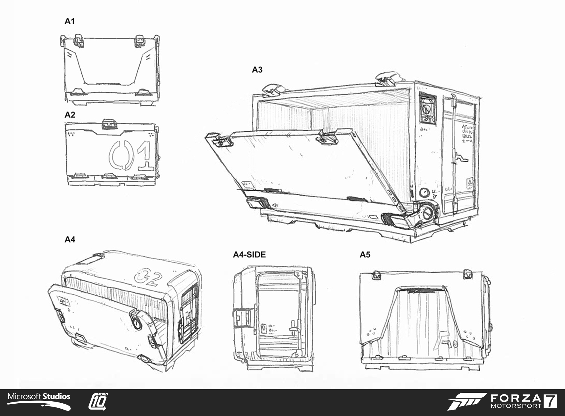 Prize crate concept sketches for Forza Motorsport 7. I concepted, modeled, textured and animated the crate. Art direction from David Heutmaker, Nic Johnson and Scott Lee.